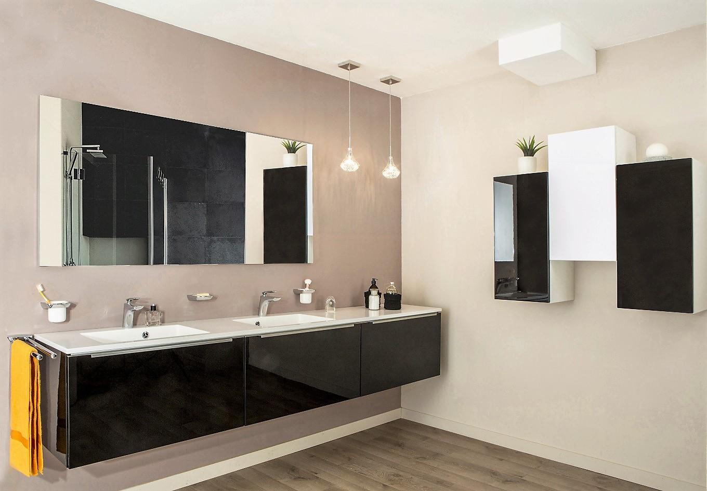 Salle de bains ANTARA MÉLAMINÉ BRILLANT NOIR
