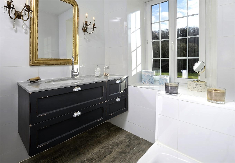 Salle de bains MAULNES ERABLE LAQUE CHARBON ANTIQUE